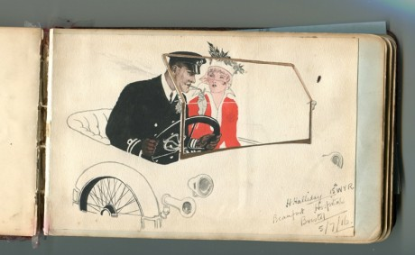 Drawing of car from autograph book from Judy Cording
