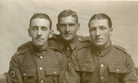 Richard Towells RAMC in the centre and two orderly friends