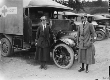 The two British Red Cross Society, Voluntary Aid Detachment (VAD) women in charge of the women drivers and ambulances at Etaples, 27th June 1917. © IWM (Q 2443)