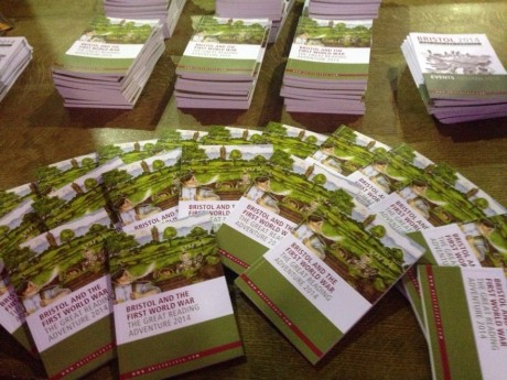 Books about to given away to audience members at Sir Max Hasting lecture at a packed Great Hall on 23 October.