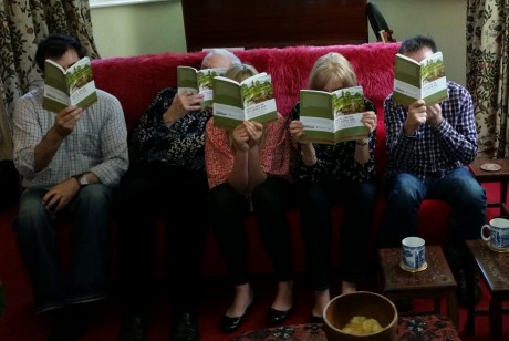 Clio Beeson has sent us a photo of her family reading the book.