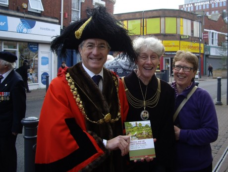 The Lord Mayor and Lady Mayoress with Mel Kelly of Bristol 2014 about to see the performance of 'From Vagrant to VC' at The Assembly, Bedminster