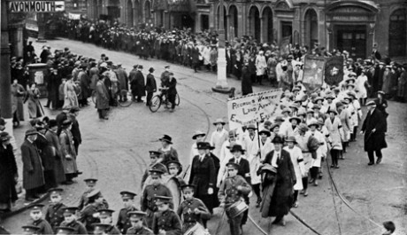 'Women's Land Army. Procession through Bristol, February 7th 1918' reproduced from Bristol and the Great War: 1914-1919 (1920), editors George F Stone and Charles Wells. Bristol Record Office reference Bk/765, scanned by John Penny.