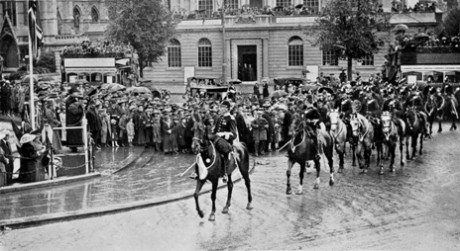 'Peace Day Celebration, July 5th 1919: Bristol Police Passing the Saluting Point' reproduced from Bristol and the Great War: 1914-1919 (1920), editors George F Stone and Charles Wells, Bristol Record Office reference Bk/765, scanned by John Penny.