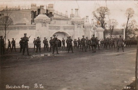 Bristol's Own (12th Battalion Gloucestershire Regiment) training at the White City exhibition site. Vaughan Collection/ Bristol Record Office ref 43207-8-064.