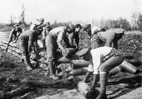 West Indian troops stacking 8-inch shells at a dump on the Gordon Road, Ypres, October 1917. E(AUS) 2078