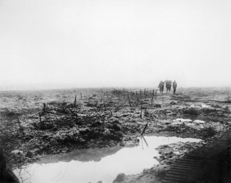 Unusually heavy rain fell during the British offensive in against the Passchendaele Ridge. Stretcher bearers, like these Canadians on 14 November 1917, struggled to bring back the wounded. Imperial War Museum/ Centenary Partnership Programme ref CO 2252.