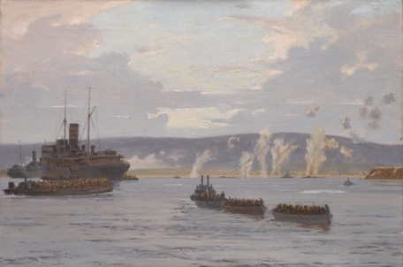 Norman Wilkinson 'The Landing in Suvla Bay: Early Morning, 7th August 1915' (1918) Oil on canvas. Imperial War Museum/ Centenary Partnership Programme ref IWM ART 2451.