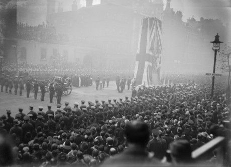 On 11 November 1920, King George V unveiled the Cenotaph in Whitehall (shown here) to commemorate the fallen, before leading mourners to Westminster Abbey to bury the Unknown Warrior. Q 14965